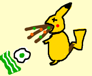 Pikachu vomits after eating bacon and eggs