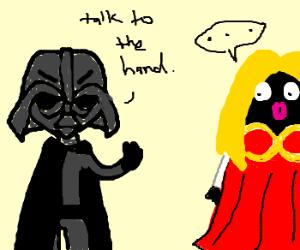 Darth Vader makes blackface talk to the hand