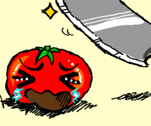 A crying tomato about to get cut up by a knife