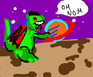 dinosaur vampire is hungry for saturn