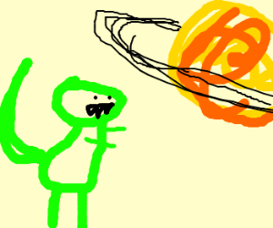 a dinosaur trying to catching saturn