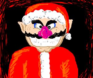 Wario tries, unsuccessfully, to pose as Santa.