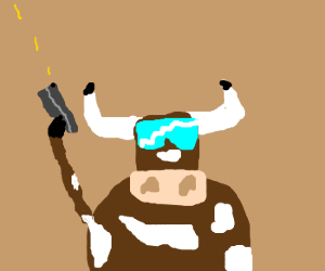 Cows with guns. Also shades.