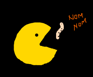 Pacman eats a worm