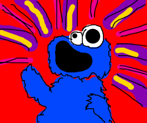 Derpy cookie monster With scary grin drawing by ...