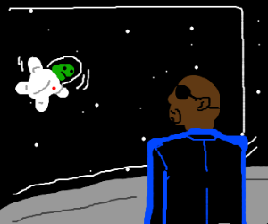 Nick Fury stares at a space turtle