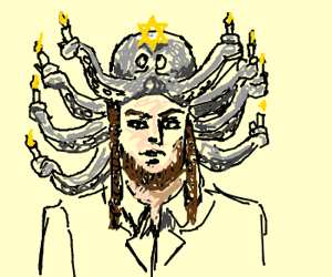 Octopus repurposed as a menorah hat