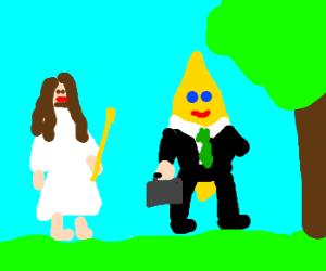Jesus walking with a businessman lemon