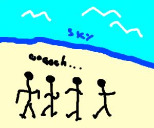 4 people looking at skyline