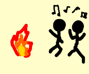 Fire makes people dance to the right