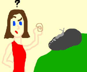 Girl wonders why snail isn't in his shel