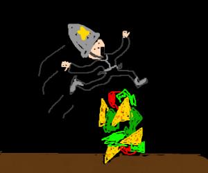 Policeman jumps over taco-salad fence