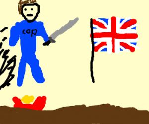 English Police Ninja jumps over nachos