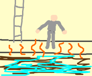 Man in grey jumpsuit in a sewer