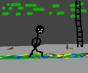 Naked black man in the sewers