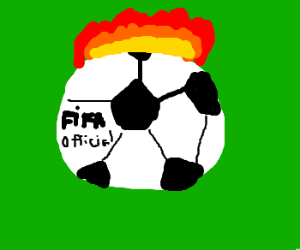 official FIFA football caught in fire