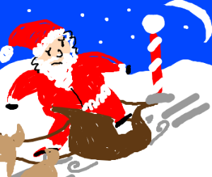 Santa Legs can't get into the sled.