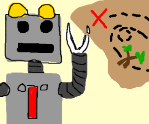 scissor-handed robot with a treasure map