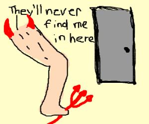 Evil legs hide in a room