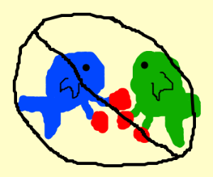 NOT a blue fish and a green fish boxing