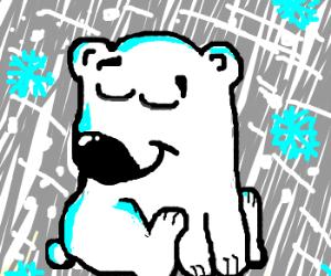A polar bear blinking in a blizzard
