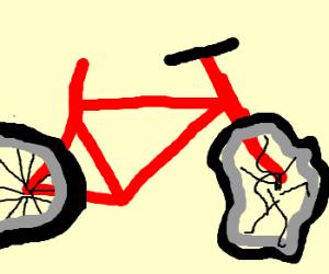 Saddless Bike has broken front wheel.