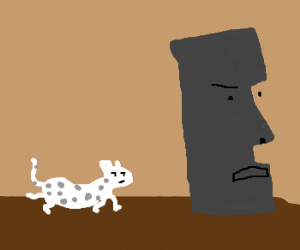 White leopard spies on tiki people