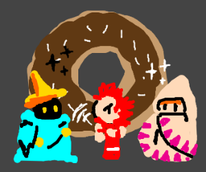 FF1 for the NES; donut vs BMage,Fighter,WMage