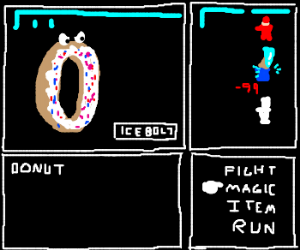 Frosted donut with sprinkles casts Ice Bolt