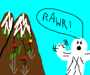 Yeti hates rappelers on his mountainside