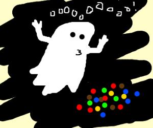 Ghost haunts M&Ms.