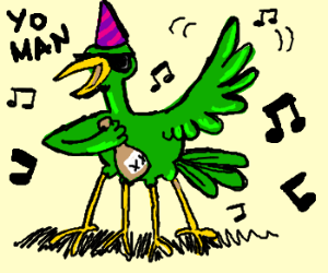4 legged green winged party bird