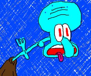 squidward choking on a fork