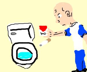Cancer survivor flushes cigarette down toilet