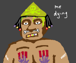 tribal black man has a poison hat