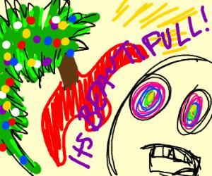 drug addict has a nice christmas tree