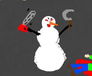 killer snowman with chainsaw and sickle arms