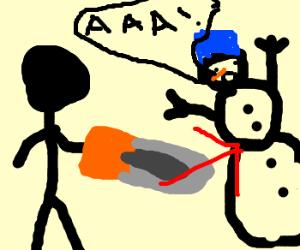 Snowman chainsaw massacre