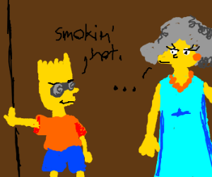 Bart with Beer goggles thinks Selma is hot.