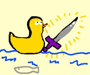 Duckling wields Excalibur!!!!
