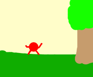 red dot attacks two people under a tree