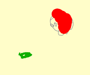 Redhead observes an angry flat pickle.