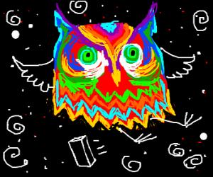 Psycadelic owl exploding into cosmic solitude