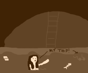 Girl swimming in sewage loses top