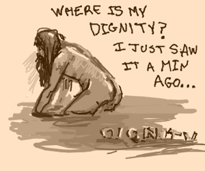 A Naked Saruman Loses His Dignity In The Mud