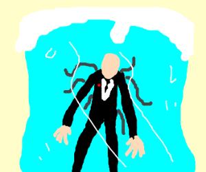 Slenderman frozen in a giant ice cube