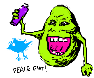 """Slimer spraypaints the bird, then """"Peace Out!"""""""