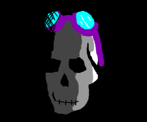 Purple goggles on dark skull.