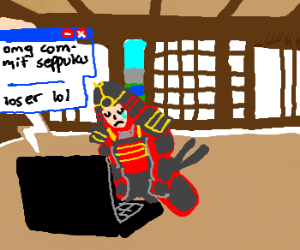 samurai harassed online with commit seppuku drawing by juano