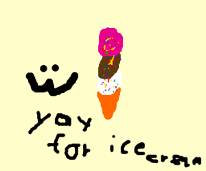 :3 face is excited about 3scoop ice creme cone